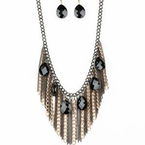 Jewelry - Black and gold new fringe necklace and earrings